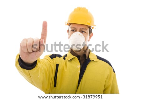 Engineer pressing with his finger something isolated on white