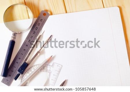 engineer's work table - stock photo
