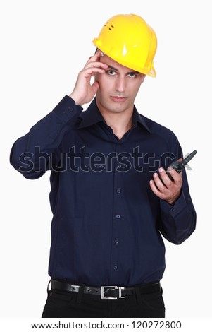 Engineer scratching his head - stock photo