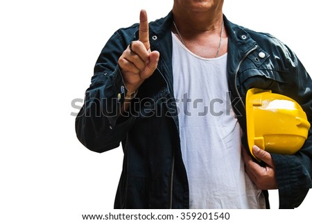 engineer show one finger meaning number 1 with isolated background - stock photo