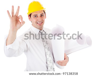 engineer showing ok sign - stock photo