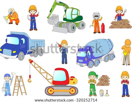 Engineer, technician, painter, welder and labor worker working on a construction. Cartoon bulldozer, concrete mixer, truck, excavator and tractor set. - stock photo