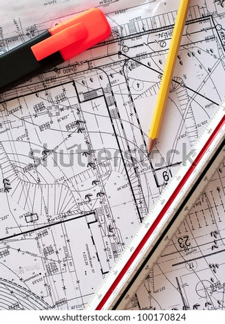engineer tools on a blueprints. drawing instruments - stock photo