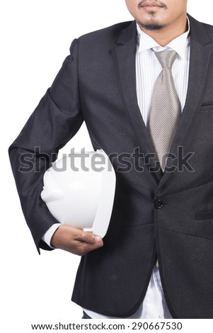 engineer white helmet for workers security white background - stock photo