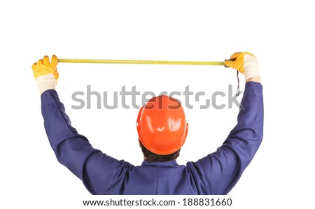 Engineer with measure ruler. Isolated on a white background. - stock photo
