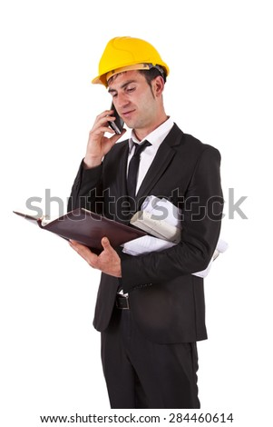 engineer with mobile - stock photo