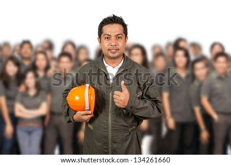 engineer with  open hand ready to seal a deal - stock photo