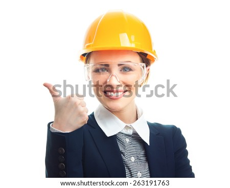 Engineer woman gesturing thumbs up, isolated on white background.Close-up of female contractor or entrepreneur, studio-shot