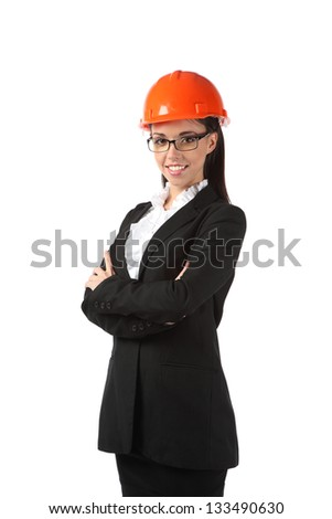 Engineer woman in an orange helmet is isolated on a white background