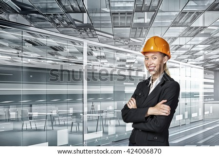 Engineer woman in interior