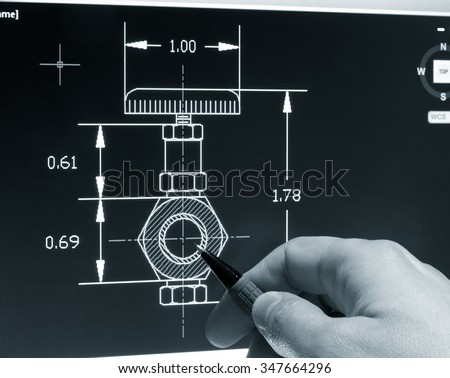Engineer working on cad blueprint monochrome stock photo 347664296 engineer working on a cad blueprint monochrome image malvernweather Choice Image