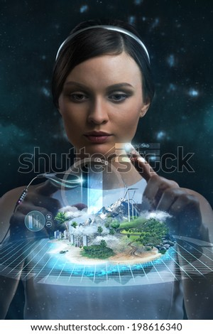 Engineer working with holographic media image of city. New technologies in development and construction - stock photo