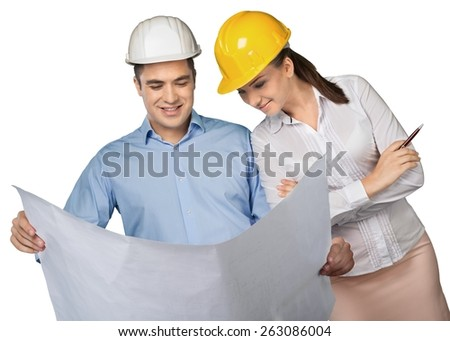 Engineer. Young Architects - stock photo