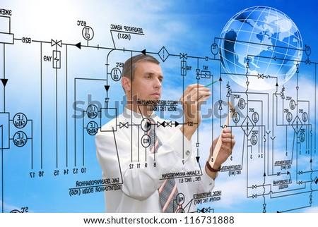 Engineering automation building designing.Energy - stock photo