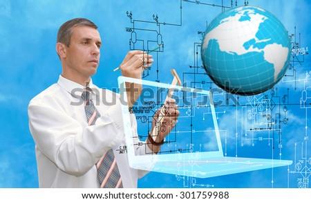 Engineering computer designing.Engineer - stock photo