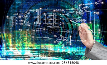 Engineering computer Internet technology.Generation - stock photo