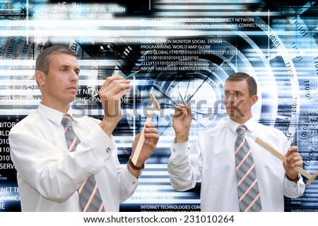 Engineering computer technology.Teamwork - stock photo