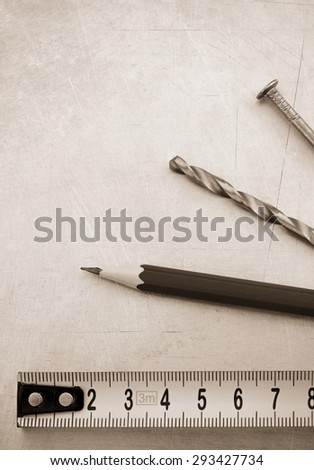 engineering concept at metal background texture - stock photo