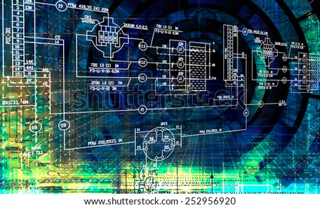 Engineering designing communications computer technologies.Industrial engineering connection - stock photo