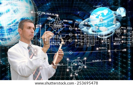 Engineering designing communications connection technologies.Creation innovative technology future - stock photo