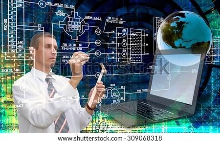 Engineering designing telecommunication.Engineer - stock photo