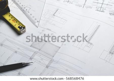 Engineering diagram blueprint paper drafting project stock photo engineering diagram blueprint paper drafting project sketch architecturalselective focus malvernweather Choice Image