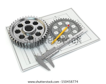 Engineering drawing. Gear, trammel, pencil and draft. 3d - stock photo