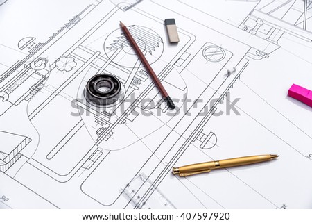 Engineering drawing of components