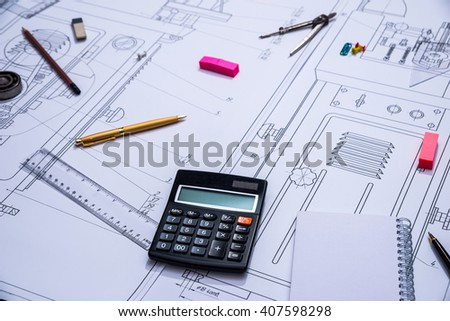 engineering drawings and tools - stock photo