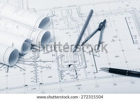 Engineering, engineer, ruler. - stock photo