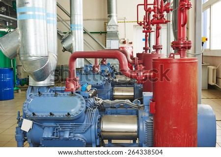 engineering equipment. industrial compressor refrigeration station at manufacturing factory - stock photo