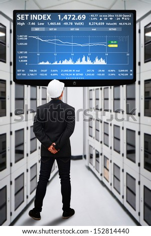 Engineering in data center room and LED monitor  - stock photo