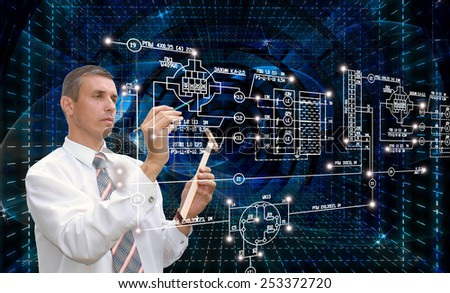 Engineering industrial technologies.Creation Connection - stock photo