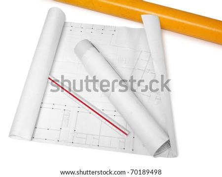 Engineering plans. Isolated - stock photo
