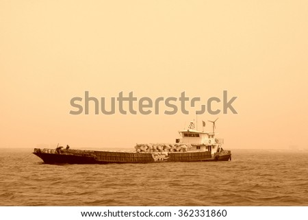 engineering ship in the sea, closeup of photo