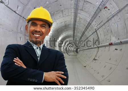 Engineering stand over tunnel site - stock photo