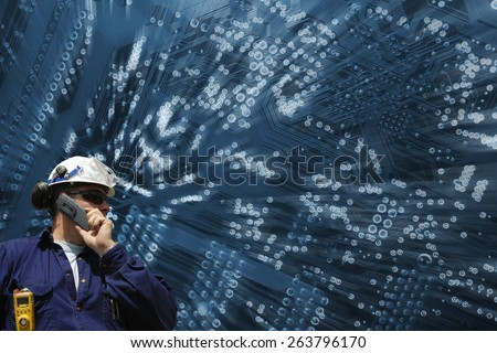 engineering, technology and computers circuit-board, futuristic concept - stock photo