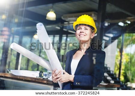 Engineering Woman Inspiration Interior Design Concept - stock photo