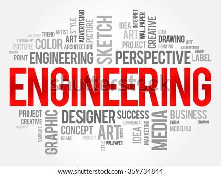 Engineering word cloud concept - stock photo