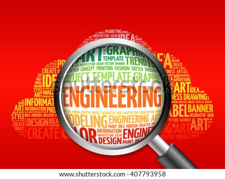 Engineering word cloud with magnifying glass, business concept - stock photo