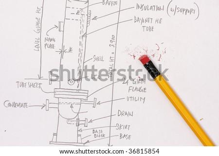 Engineers Calculation of pressure vessel - stock photo