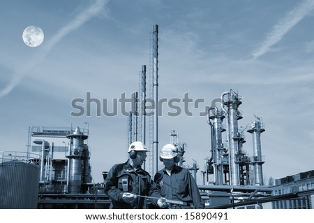 engineers fuel and gas industry and full-moon - stock photo