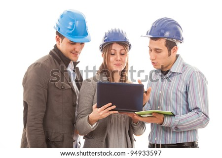 Engineers or Architects with Helmet on White Background