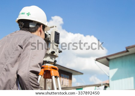 Engineers survey line columns for the construction of buildings. - stock photo