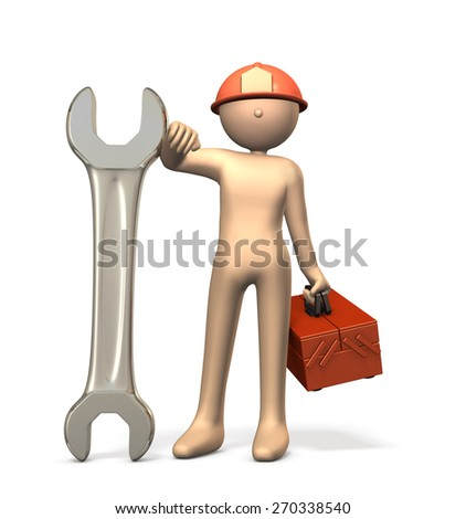 Engineers with a big wrench. isolated,, computer generated image - stock photo
