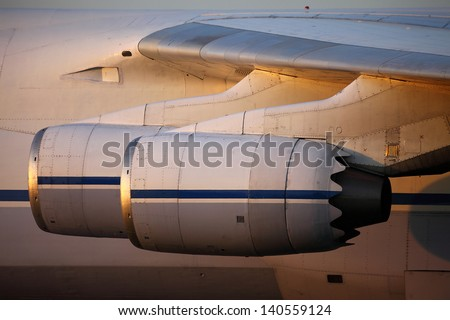 Engines of a huge cargo aircraft - stock photo
