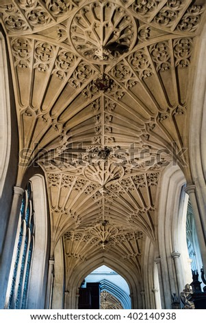 England, Bath - 14 March 2016: Bath Abbey corridor arches - Norman Cathedral
