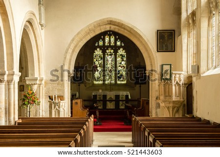England, Chedworth - October 21, 2016: St Andrews Church Nave B