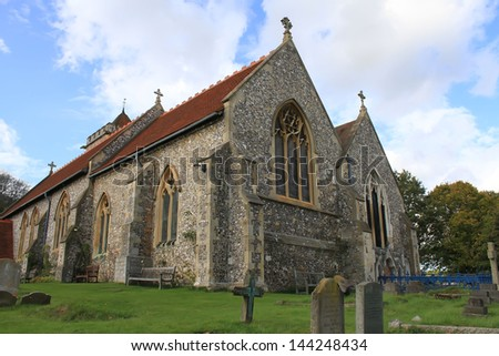 England Church with Cemetary - stock photo