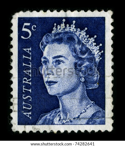 ENGLAND-CIRCA 1960:A stamp printed in ENGLAND shows image of the Elizabeth II is the constitutional monarch of sixteen independent sovereign states, circa 1960.